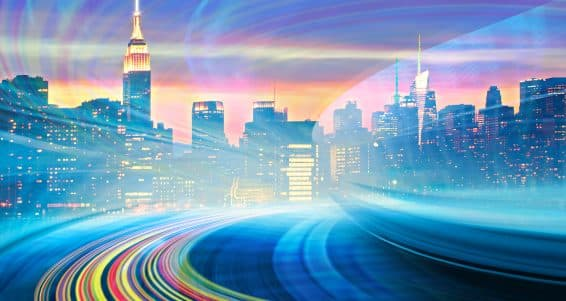 Abstract Illustration of an urban highway going to the modern city downtown speed motion with colorful light trails. Image of New York City skyline is from my collection.