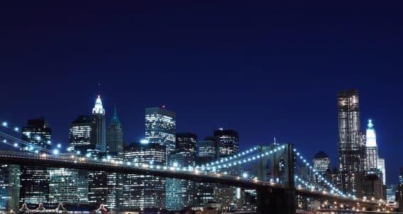 Brooklyn Bridge and Manhattan Skyline At Night, New York City