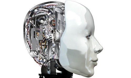 A robot woman head with internal technology