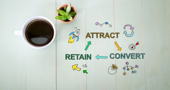 Attract, Convert And Retain Concept With A Cup Of Coffee