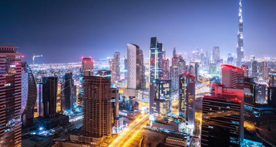 Beautiful night city, cityscape of Dubai, United Arab Emirates, modern futuristic architecture night