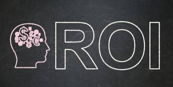 Business concept: Head With Finance Symbol and ROI on chalkboard background