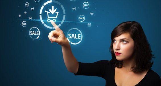 bigstock-Businesswoman-pressing-promoti-25734188