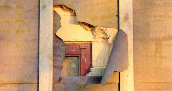 Damage On House Isolation Uncover Window Behind