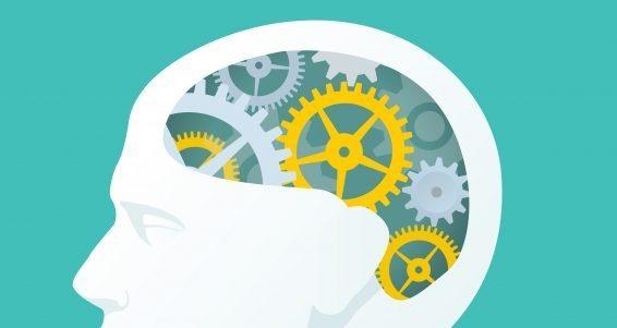Human Head With Gears. Head Thinking.