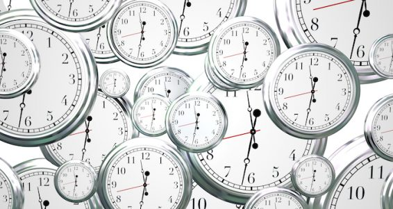 Many clocks ticking counting down seconds, minutes hours time marches moves forward