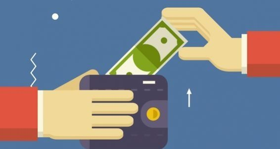 Payment Symbol Human Hands holding Banknote and Wallet on Stylish Background Modern Flat Design Vect