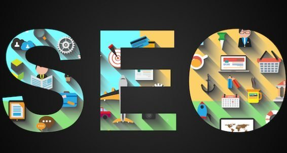 SEO Search engine optimization concept with Flat design and a lot of icons behind.