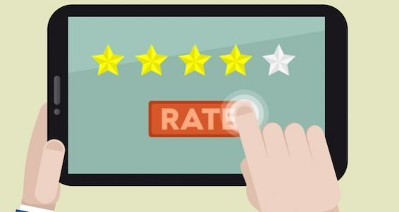 minimalistic illustration of hands holding a tablet computer with rating system and hand pushing the