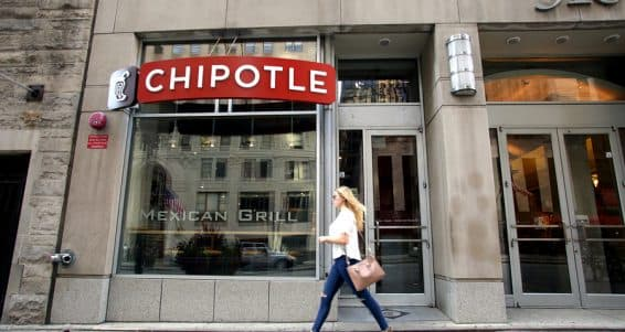 CHICAGO - FRIDAY, SEPTEMBER 25, 2015: Pedestrians walk past a Chipotle Mexican fast food restaurant.  Chipotle Mexican Grill, Inc. is a chain of restaurants.