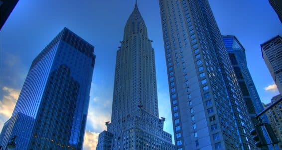 Chrysler Building in Manhattan New York at dusk.