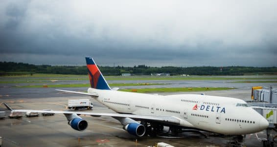 TOKYO, JAPAN - circa JUNE 2016: Delta Air Lines Boeing 747-451 towed at Narita International Airport, Japan. Delta Air Lines is a major American airline, with its headquarters and largest hub at Hartsfield-Jackson Atlanta International Airport in Atlanta,