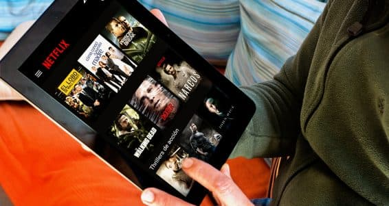 BARCELONA SPAIN - JANUARY 05 2016: Netflix app on tablet screen. Netflix is an international leading subscription service for watching TV episodes and movies.