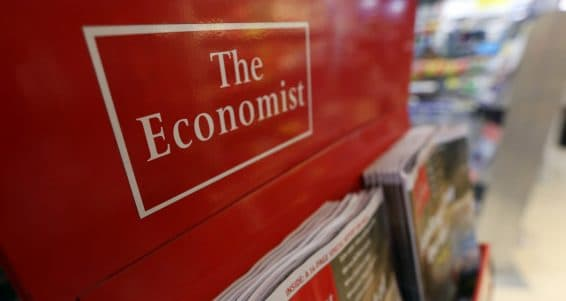 The Economist magazine, part-owned by the Financial Times Group, is seen on display at a newsagents in London, U.K., on Wednesday, Oct. 3, 2012. Pearson Plc Chief Executive Officer Marjorie Scardino will step down after more than 15 years and be replaced by the head of its international education business, spurring speculation that the company may sell the Financial Times newspaper unit. Photographer: Chris Ratcliffe/Bloomberg via Getty Images
