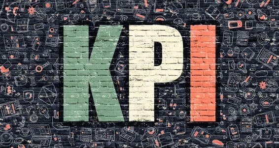 KPI - Key Performance Indicator - Concept. Modern Line Style Illustration. Multicolor KPI Drawn on Dark Brick Wall. Doodle Icons. Doodle Design Style of  KPI Concept. KPI on Dark Brick Wall. KPI.