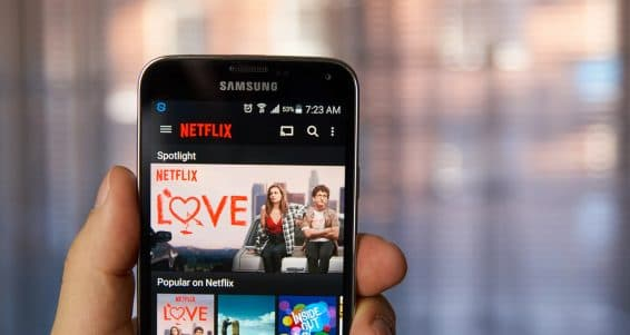 MONTREAL CANADA - MARCH 4 2016 - Netflix application running on android Samsung S5. Netflix is one of the most popular global provider of streaming movies.