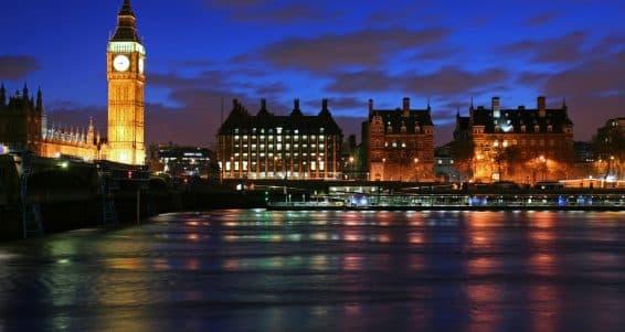 London skyline including Big Ben at twilight ** Note: Slight graininess, best at smaller sizes