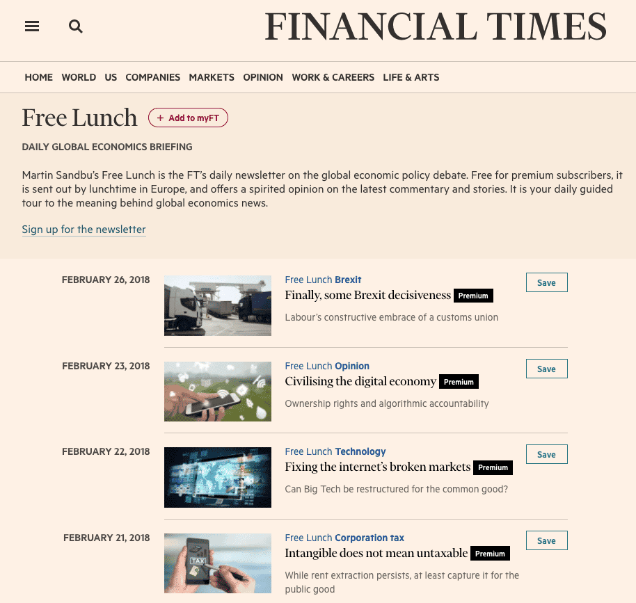 financial times free lunch