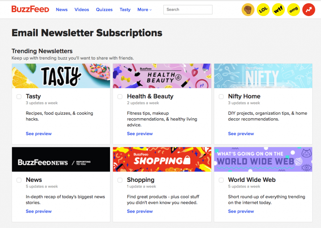 buzzfeed email newsletter subscriptions