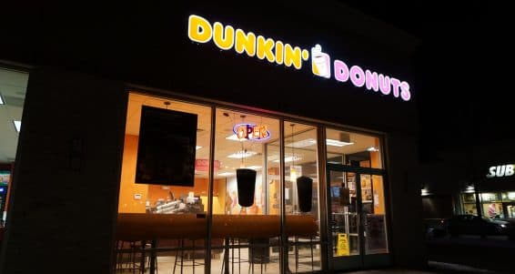 JOLIET, ILLINOIS / UNITED STATES - NOVEMBER 31, 2015: Dunkin' Donuts is open on New Year's Eve, for people who wish to celebrate the holiday by eating doughnuts.