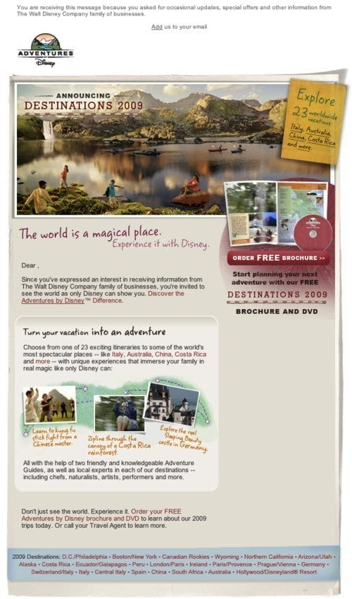 Email newsletter design guidelines and examples disney adventures newsletter is another good example its beautiful picture gives users that holiday feeling thecheapjerseys Image collections