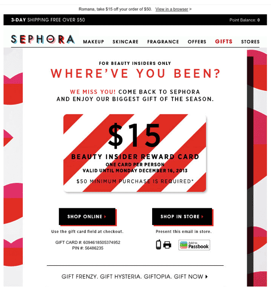 sephora repeat purchase winback email