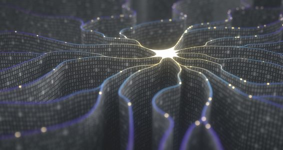 3D illustration. Artificial neuron in concept of artificial intelligence. Wall-shaped binary codes make transmission lines of pulses and/or information in an analogy to a microchip.
