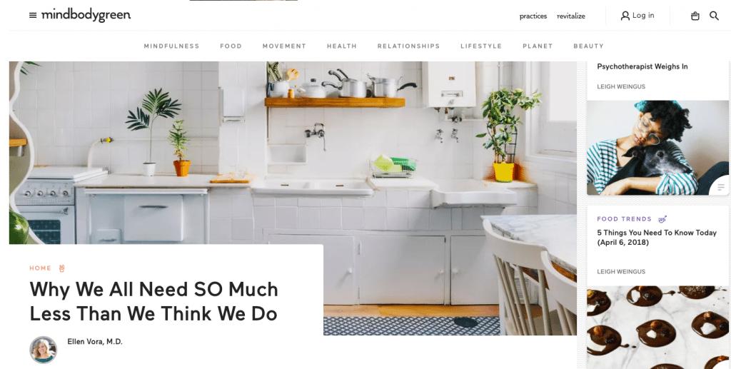 mindbodygreen homepage