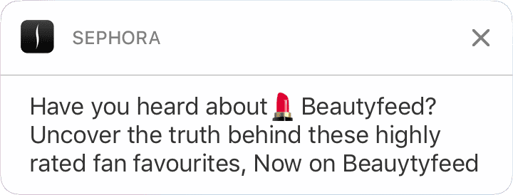 Sephora push notification