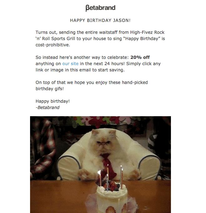 Betabrand Birthday email