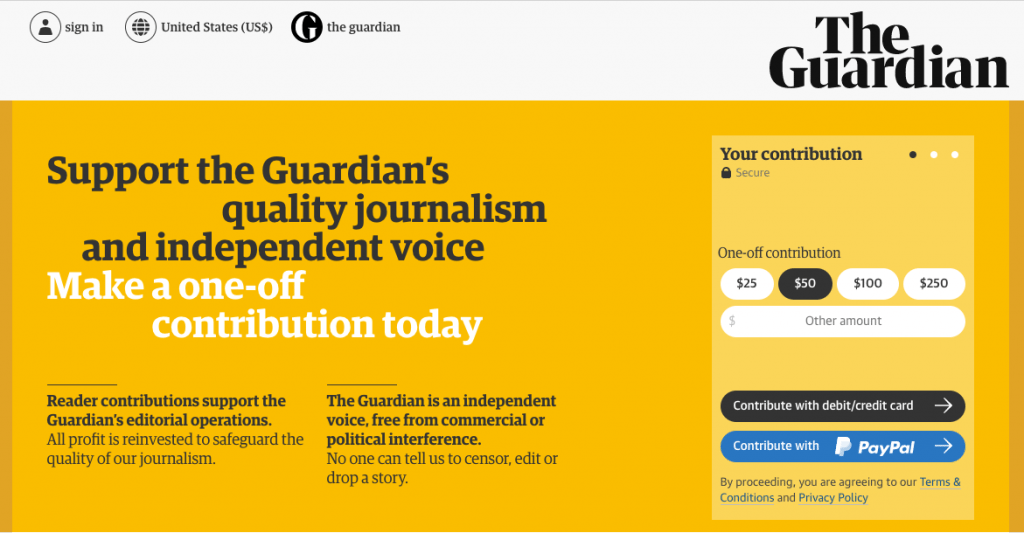 Readers supporting The Guardian
