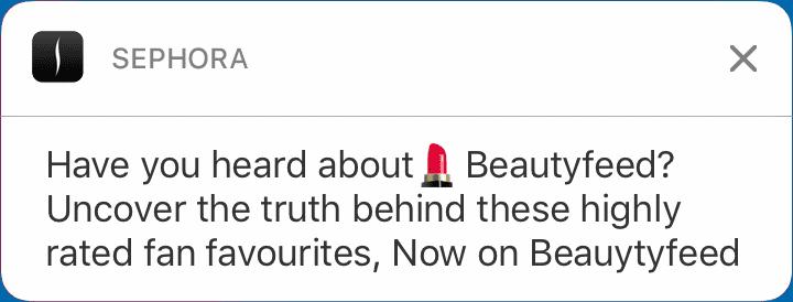 Sephora- push notification