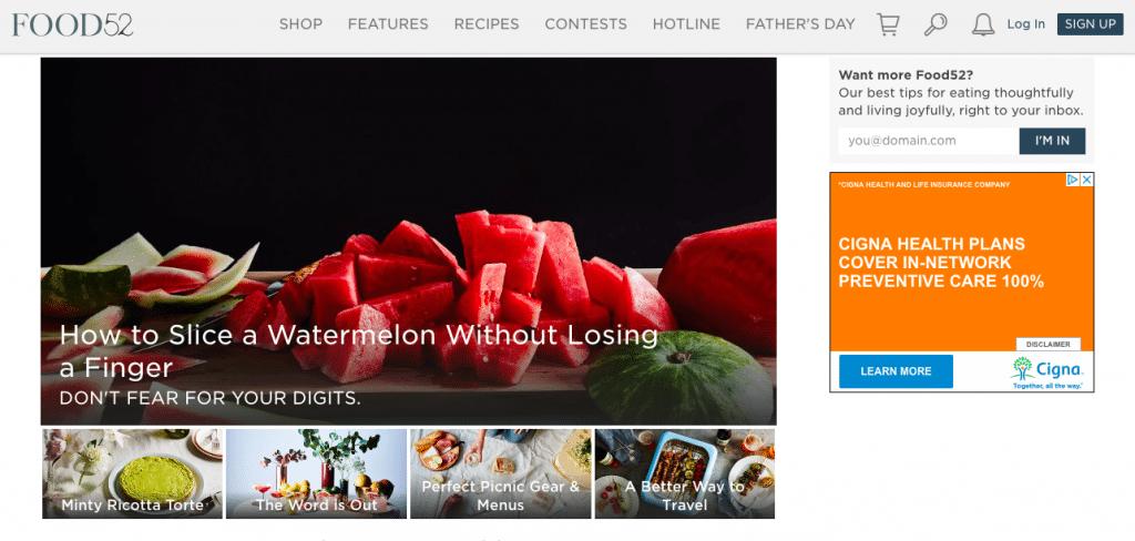 Food52 homepage