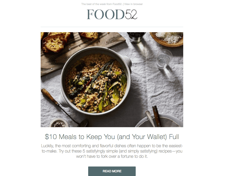 Food52 email
