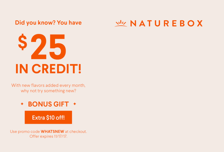 Naturebox direct mail campaign