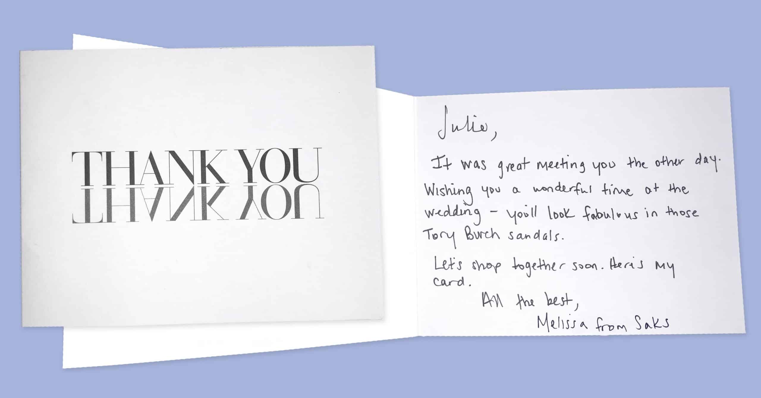 Saks Fifth Avenue - Thank you note