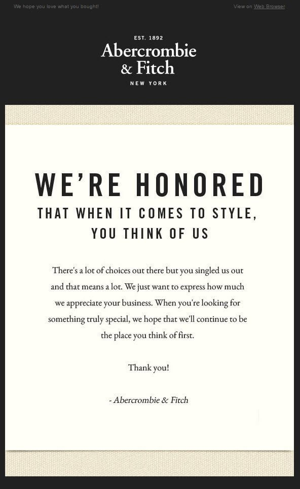 Abercrombie - Thank you email
