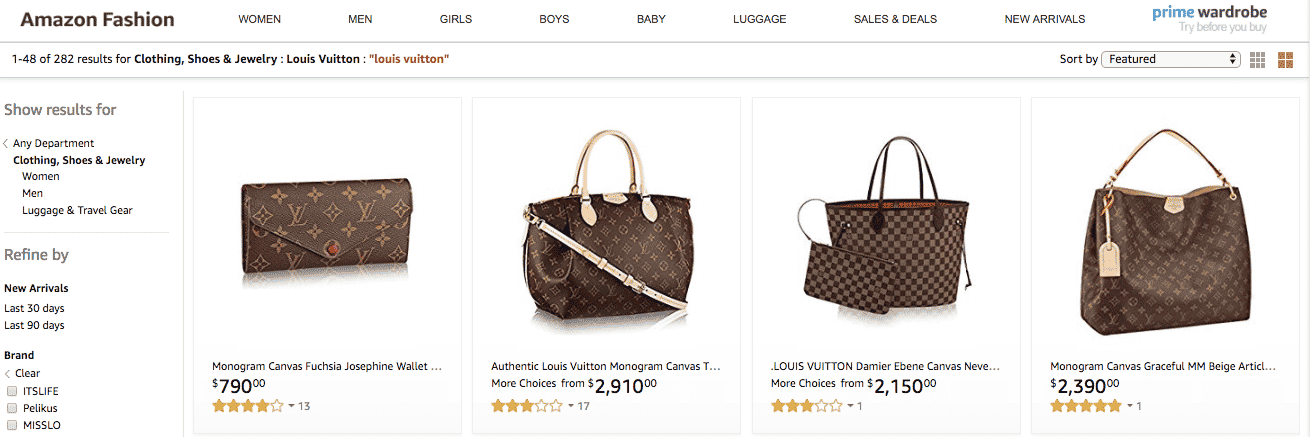 Louis Vuitton Amazon inventory
