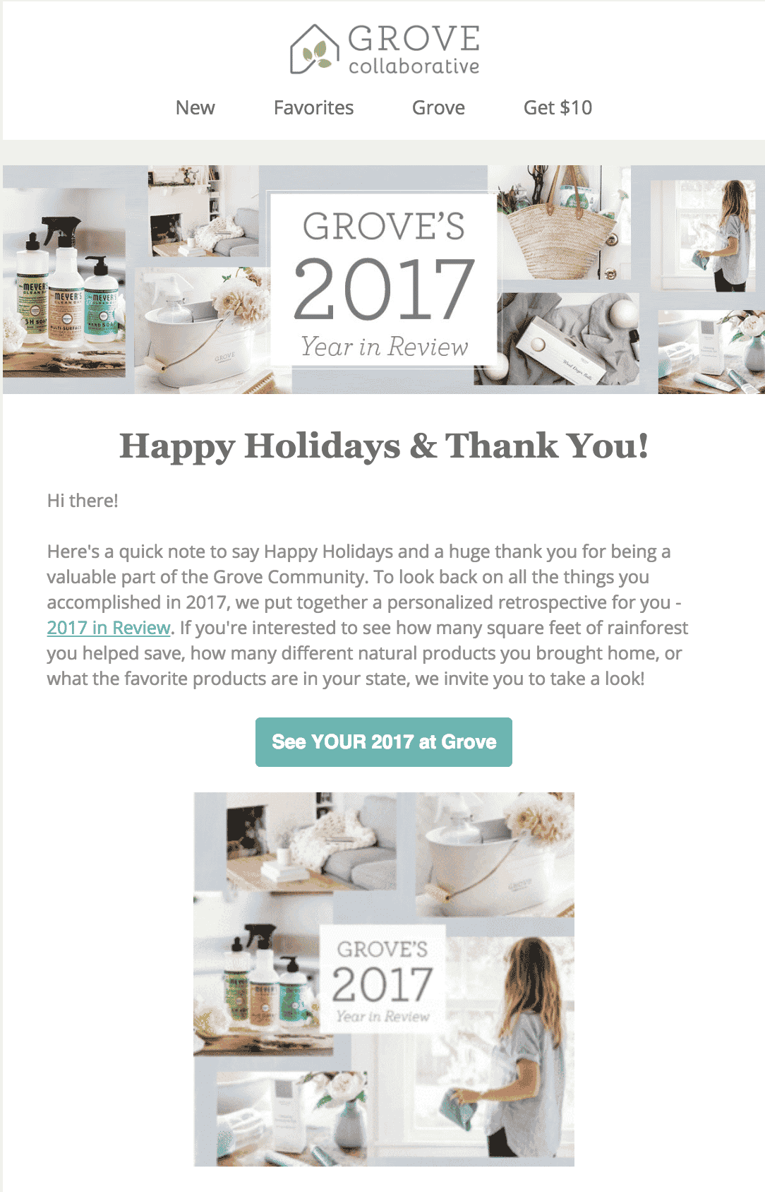 Holiday emails: Grove