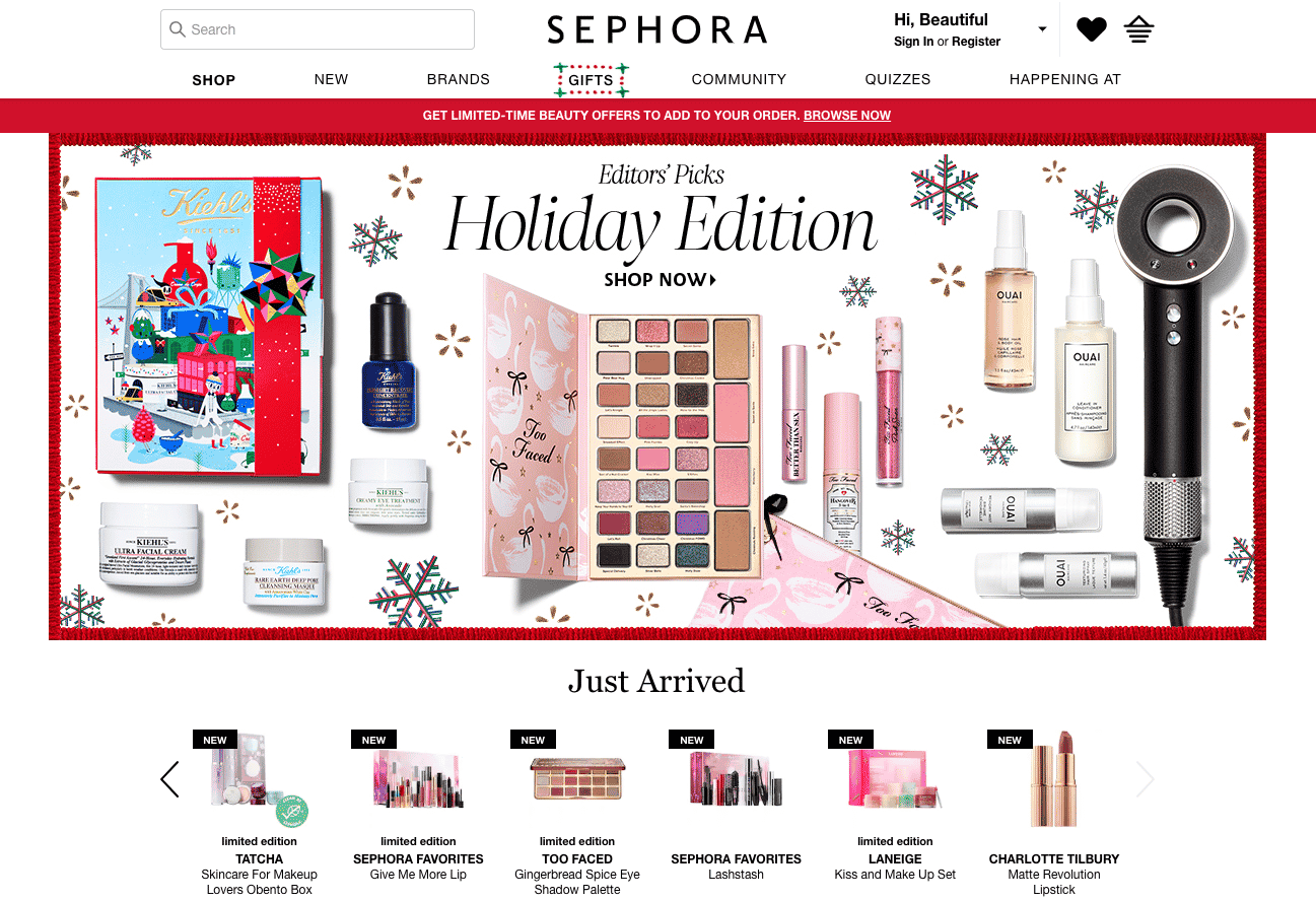 Product recommendations - Sephora