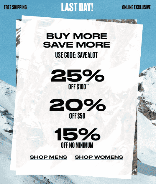 Tiered discounts- PacSun