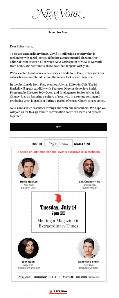 virtual events from New York magazine