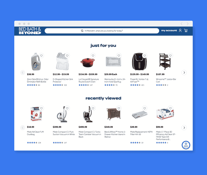 bed bath beyond personalized website example
