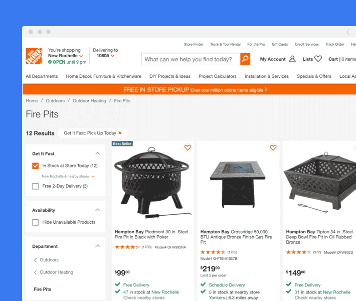 home depot ecommerce cx example