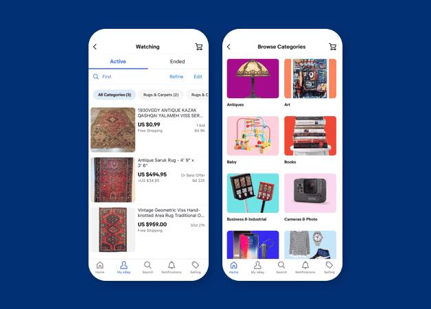 ebay intuitive app design example