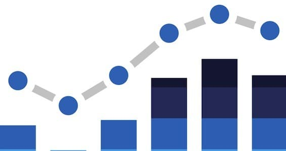 Illustration of Blue Stats Bars isolated on a white background