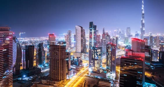 Beautiful night city, cityscape of Dubai, United Arab Emirates, modern futuristic architecture night