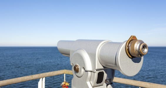 Telescope on a pier pointed at horizon future concept.